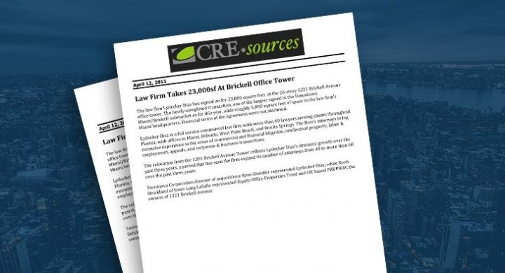 Picture of photo cover of article= CRE Sources. vFirm takes 23,000 sf at brickell office tower 04-12-11