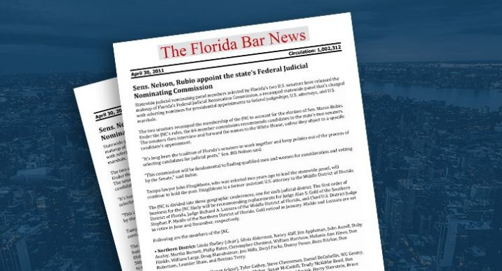 Picture of photo cover of article= Florida Bar News. Senator Nelson, Rubio Appoint the states Federal Judicial
