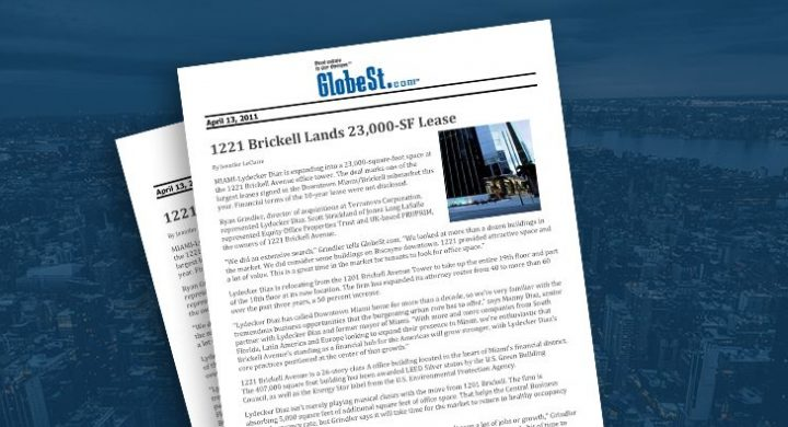 Picture of photo cover of article= GlobeSt.com 1221 Brickell Lands 23,00 SF lease 04-13-11