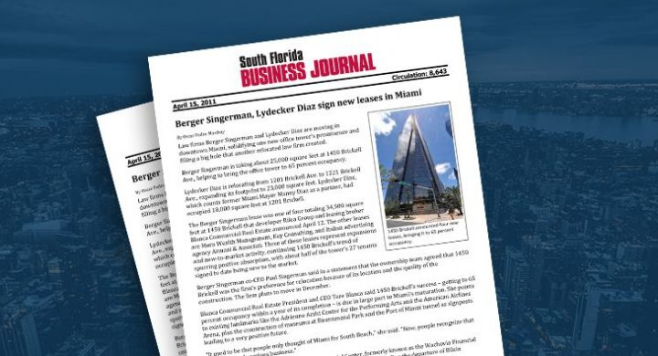 Picture of photo cover of article= South Florida Business Journal Berger Singerman, Lydecker Diaz sign new leases in Miami
