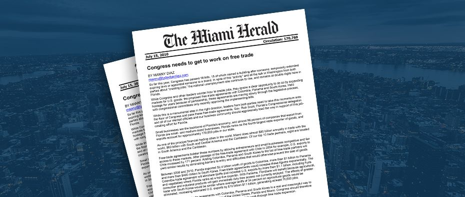 Picture of photo cover of article= Miami Herald Congress needs to get to work on free trade by Manny Diaz 07-01-11