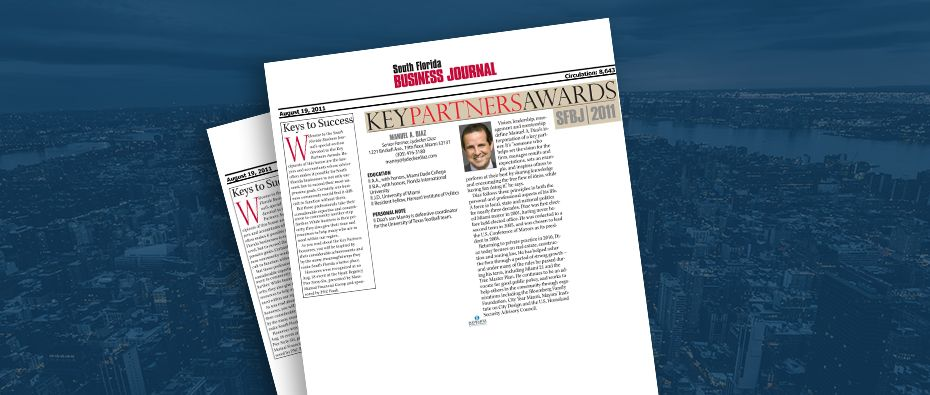 Picture of photo cover of article= South Florida Business Journal Key partners Awards 2011 Manuel Diaz