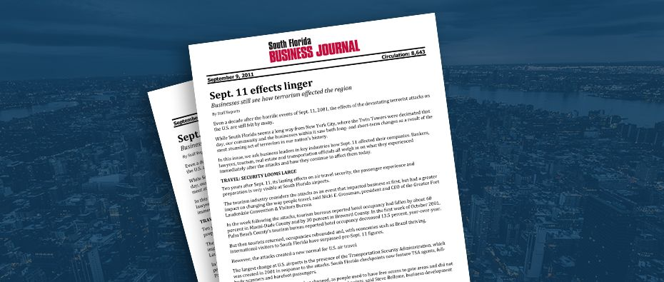 Picture of photo cover of article= South Florida Business Journal Sept 11 effects linger