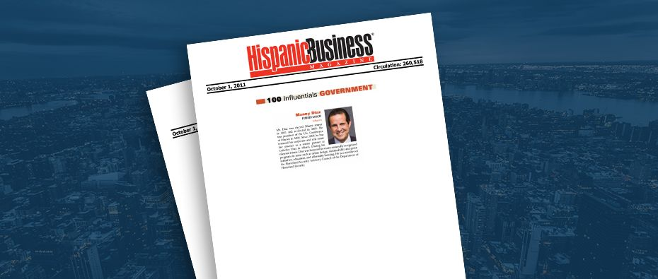 Picture of photo cover of article= Hispanic Business Magazine 100 influential Government Manny Diaz 10-01-11
