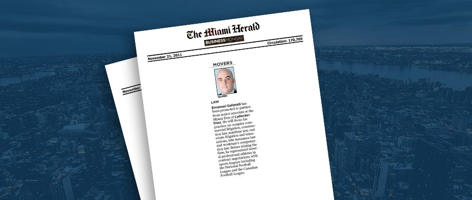 Picture of photo cover of article= Miami herald business monday, movers emanuel galimidi 11-21-11