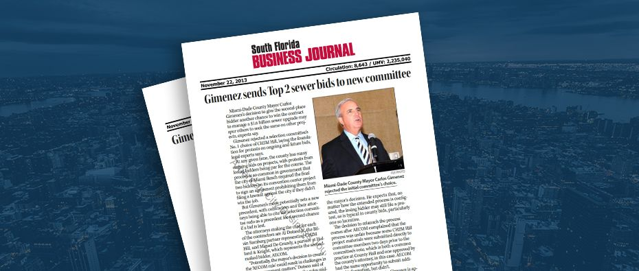 Picture of photo cover of article= South Florida Business Journal Top 2 sewer Bids