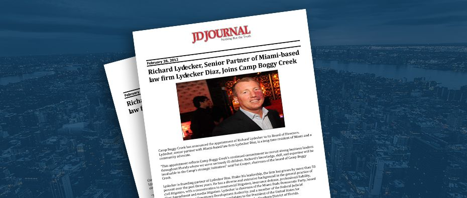 Picture of photo cover of article= jDjournal-Richard-lydecker-Senior-Partner-of-miami-based-law-firm-lydecker-diaz-Joins-Camp-boggy-creek-02-28-12