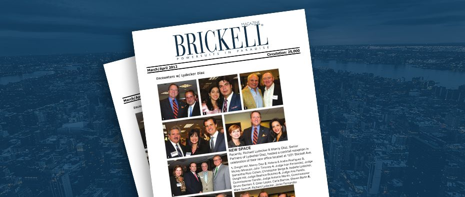 Picture of photo cover of article= Brickell magazine Encounters w Lydecker Diaz new space 03-01-12