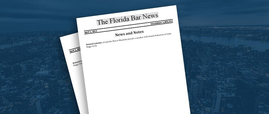 Picture of photo cover of article= Florida Bar News, Richard Lydecker camp Boggy Creek 04-01-12