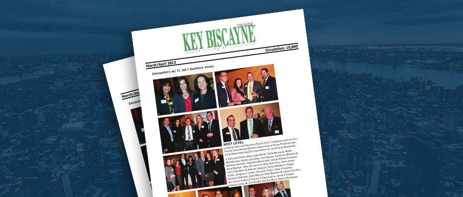 Picture of photo cover of article= Key Biscayne Magazine. Ecounters w Lydecker Diaz - new space 03-01-12