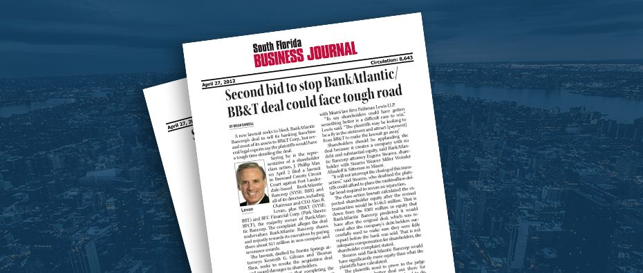 Picture of photo cover of article= South Fl Business Journal. Second bid stop BankAtlantic BB&T deal could face road 04-27-12