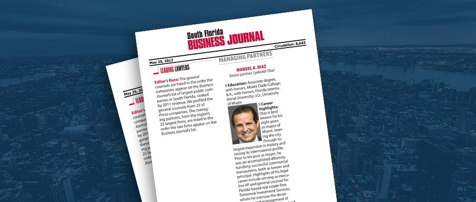 Picture of photo cover of article= South FL business Journal. Leading Lawyers Diaz, Hendricks and lydecker 05-25-12