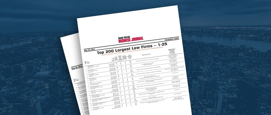 Picture of photo cover of article= South Florida Business Journal, Top 200 Largest Law Firms, Lydecker