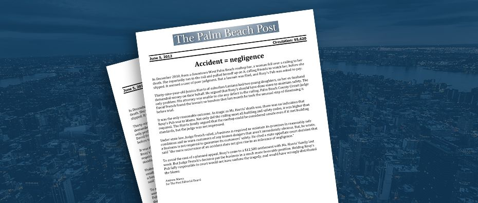 Picture of photo cover of article= Palm Beach Post - Accident Negligence 06-05-12