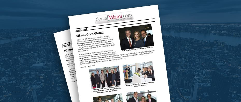 Picture of photo cover of article= Social Miami Miami Goes Global 06-03-12