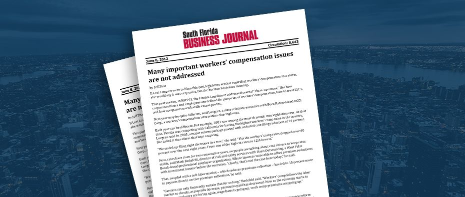 Picture of photo cover of article= South Florida Business Journal - Many important workers compensation issues are not adressed 06-08-12