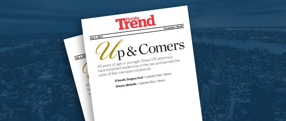 Picture of photo cover of article= Florida Trend- Florida Legal Elite 2012 Up & Comers 07-01-12