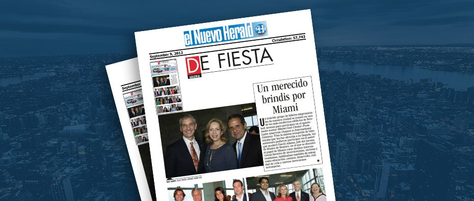 Picture of photo cover of article= El nuevo Herald. De fiesta. Un merecido brindis por Miami 09-09-12
