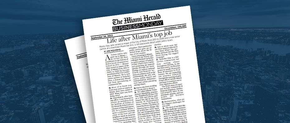 Picture of photo cover of article= Miami herald business monday life after miami top job 09-09-12