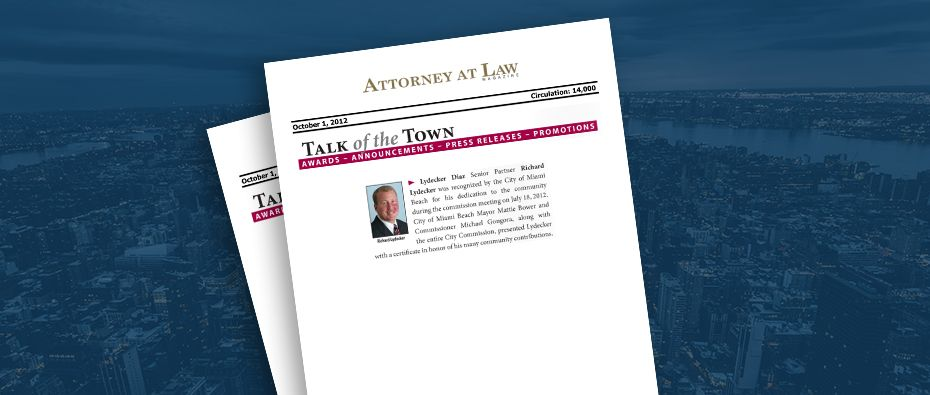 Picture of photo cover of article= Attorney at law. Lydecker recognized by city of miami beach 09-09-12