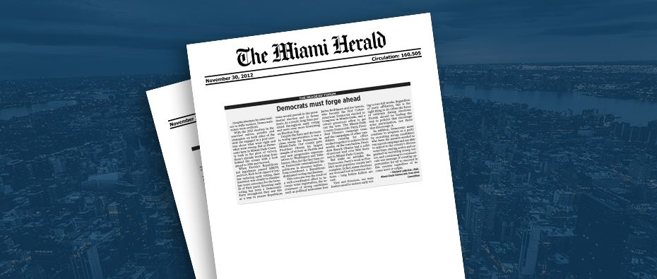 Picture of photo cover of article= Miami herald. democrats must forge ahead 11-30-12