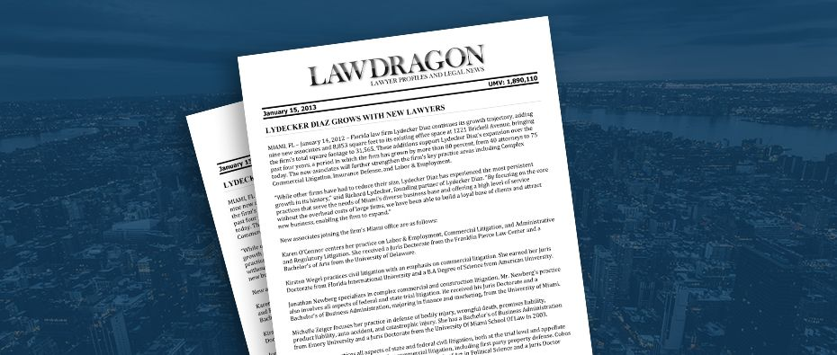 Picture of photo cover of article= Law Dragon Lydecker Diaz grows with new lawyers 01-15-13