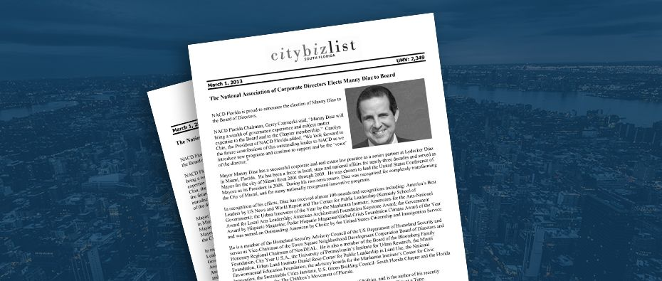 Picture of photo cover of article= City bitz list the national association of corporate directors elects manny diaz to board 03-01-13
