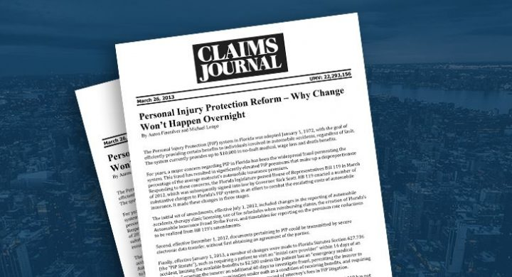 Picture of photo cover of article= Claims Journal Personal injury Protection Reform 03-26-13