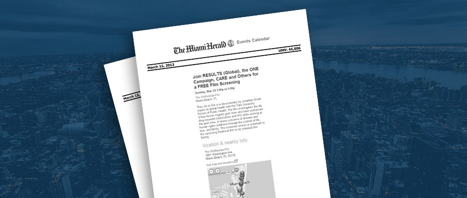 Picture of photo cover of article= Miami Herald events calendar Free film screening 03-15-13
