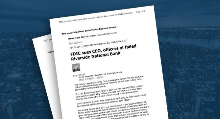 Picture of photo cover of article= South Florida Buisness Journal FDIC sues CEO 04-18-13