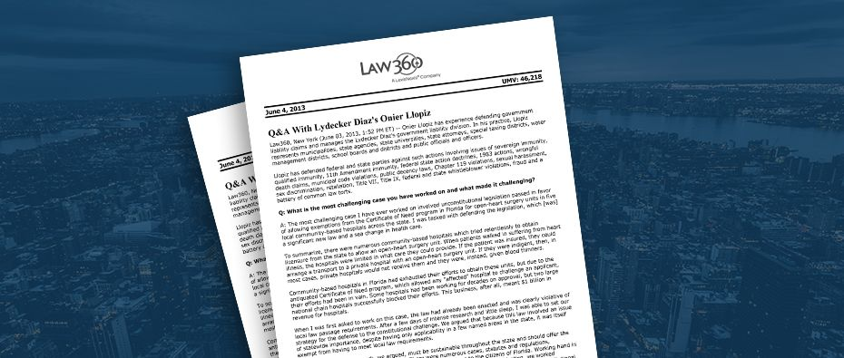 Picture of photo cover of article= Law-360-QA-Lydecker-Llopiz-06-04-13