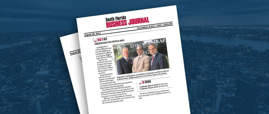 Picture of photo cover of article= South FL Business Journal Diaz gets Critical Mass 08-30-13
