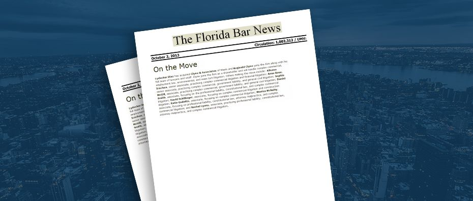 Picture of photo cover of article= Florida Bar News Move Reginad Clyne 10-02-13