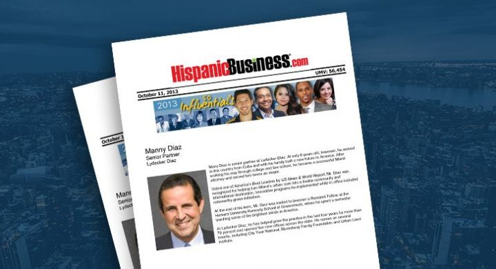 Picture of photo cover of article= Hispanic Business 50 influentials (10-11-13)