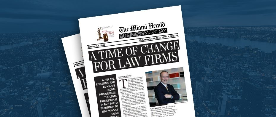 Picture of photo cover of article= Miami Herald business monday Time of changes 10-14-13