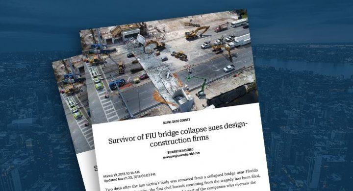 Picture of photo cover of article= FIU bridge survivor sues companies for negligence Miami Herald